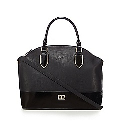 The Collection - Black patent trim dome bag