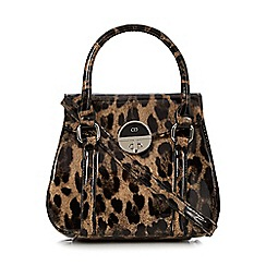 The Collection - Black patent leopard print grab bag