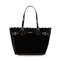 The Collection - Black patent scalloped tote bag