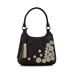 The Collection - Black floral applique shoulder bag