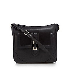 The Collection - Black suede panel cross body bag