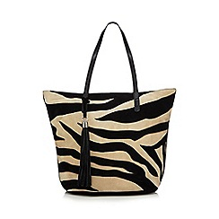 The Collection - Black zebra applique  shopper bag