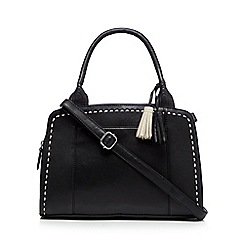The Collection - Black leather tassel charm grab bag