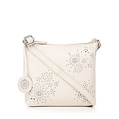 The Collection - Light pink leather floral cut-out cross body bag