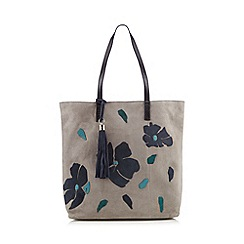 The Collection - Light grey applique flower shopper bag