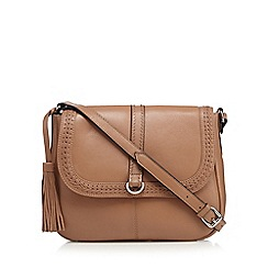 The Collection - Tan woven detail cross body bag