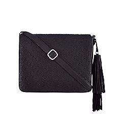 The Collection - Black stitched detail cross body bag