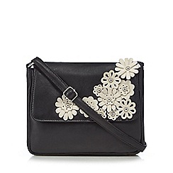 The Collection - Black floral applique cross body bag