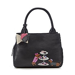 The Collection - Black leather dog and cake applique hand held bag
