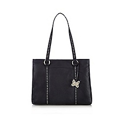 The Collection - Navy butterfly stitched shoulder bag