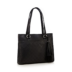 The Collection - Black stitched detail tote bag