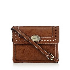 Mantaray - Tan large stitched detail cross body bag