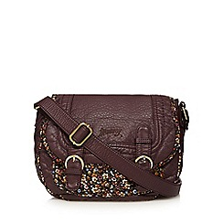 Mantaray - Dark red floral trim cross body bag