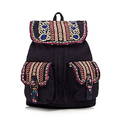Mantaray - Navy floral embroidered rucksack