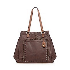 Mantaray - Dark brown sherpa lined shopper bag
