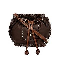 Mantaray - Dark brown sherpa trim duffle bag