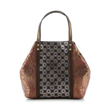 Butterfly by Matthew Williamson - Designer dark pink metallic embossed leather grab bag