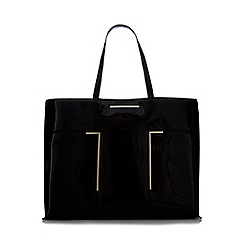 J by Jasper Conran - Black patent bar detail shopper bag