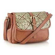 Designer Brown Metallic Tile Patterned Across Body Bag