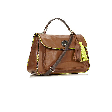 Butterfly by Matthew Williamson - Designer tan large piped cross body bag