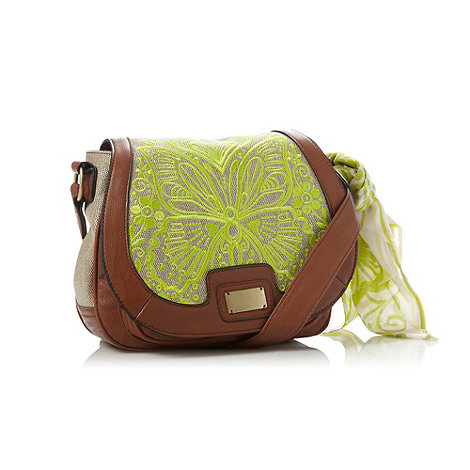 Butterfly by Matthew Williamson - Designer tan embroidered butterfly cross body bag