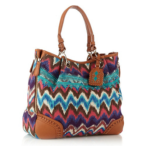 Butterfly by Matthew Williamson - Designer blue zigzag printed tote bag