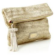 Designer Gold Woven Clutch Bag
