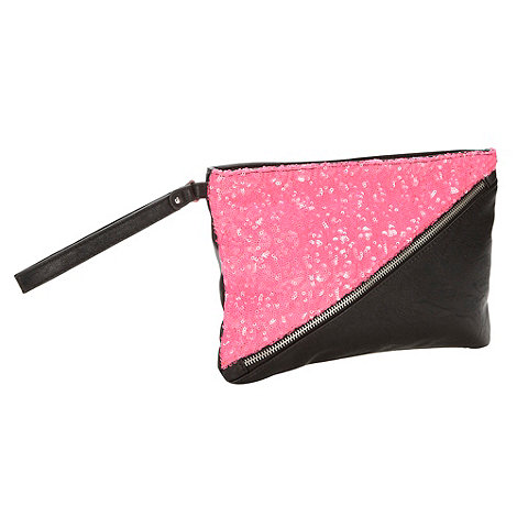 H! by Henry Holland - Designer pink sequin zip clutch