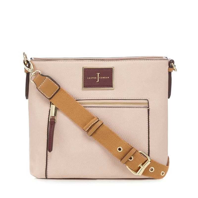 The Collection Pink logo plate cross body bag
