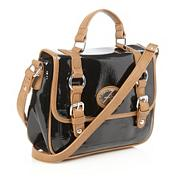 Designer black small patent satchel bag