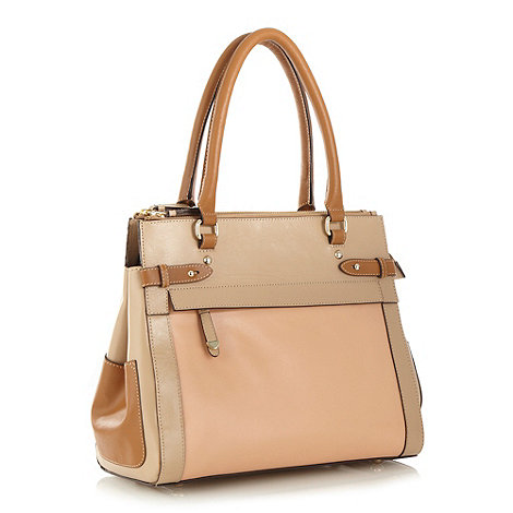 J by Jasper Conran - Designer natural leather colour block tote bag