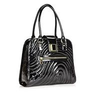Designer Black Large Patent Tote Bag