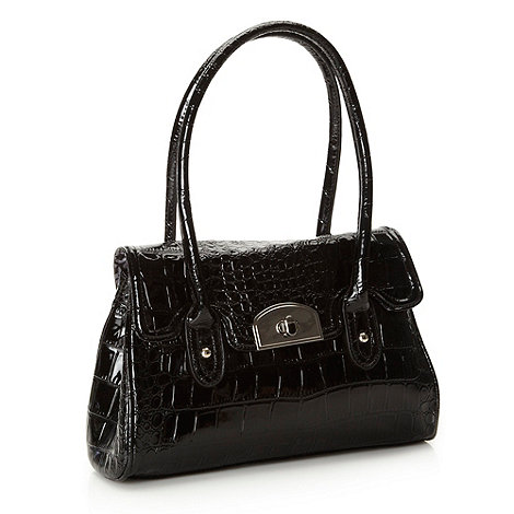 The Collection - Black patent mock croc music bag