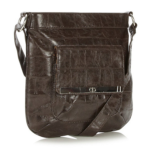 The Collection - Chocolate mock croc cross body bag
