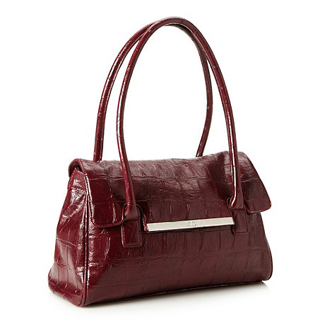 The Collection - Dark red mock croc shoulder bag