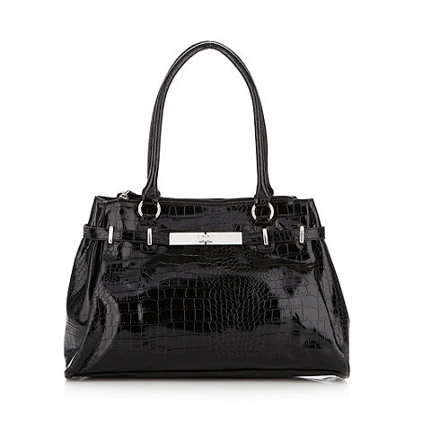 The Collection - Black patent mock croc tote bag