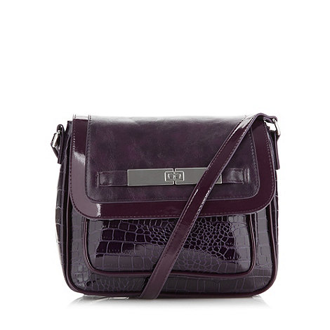 The Collection - Purple patent mock croc cross body bag