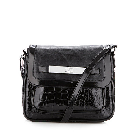 The Collection - Black patent mock croc cross body bag