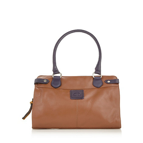 The Collection - Tan colour block leather three section tote bag
