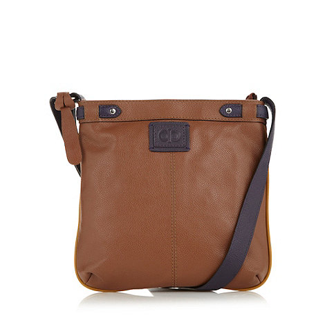 The Collection - Tan colour block leather cross body bag