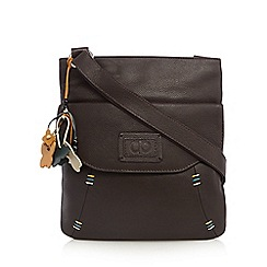 The Collection - Dark brown contrast stitch cross body bag