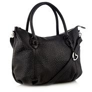 Designer black grained leather heart charm tote bag
