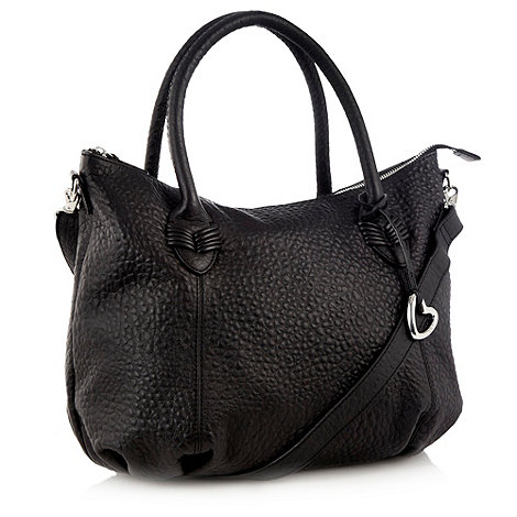 RJR.John Rocha - Designer black grained leather heart charm tote bag