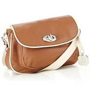 Designer Tan Leather Twist Lock Cross Body Bag