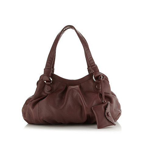 Betty Jackson.Black - Designer maroon button shoulder bag