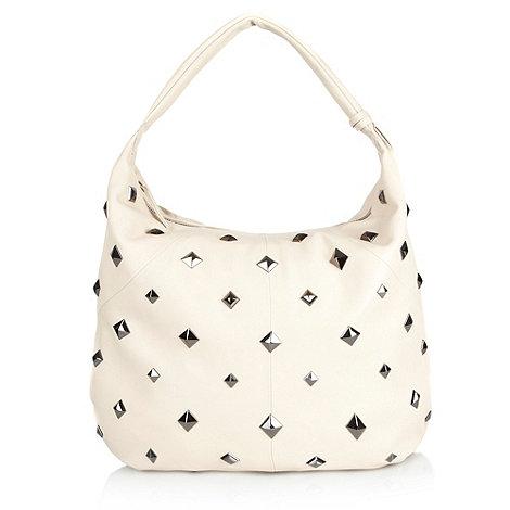 Betty Jackson.Black - Designer cream studded leather shoulder bag