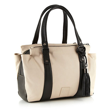 Betty Jackson.Black - Designer cream leather three section colour block bag