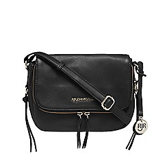 RJR.John Rocha - Black leather zip detail cross body bag