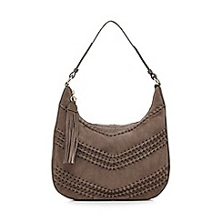RJR.John Rocha - Grey suede chevron shoulder bag