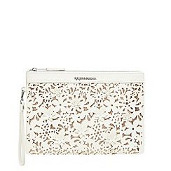 RJR.John Rocha - White floral cut-out clutch bag